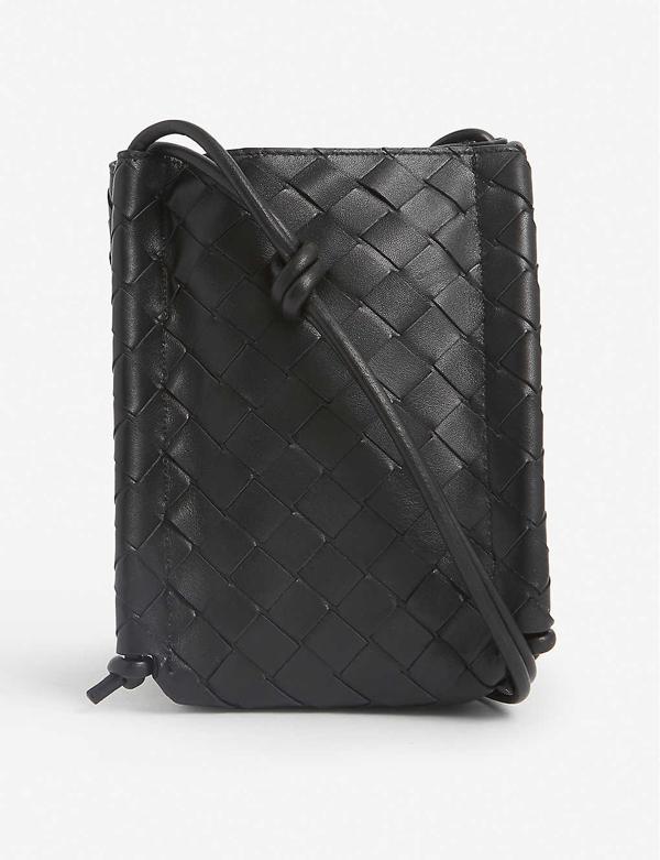 Bottega Veneta Intrecciato Leather Phone Holder In Black Gold