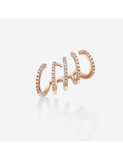 Gold & Roses Crawler Shewel Earring In Gold