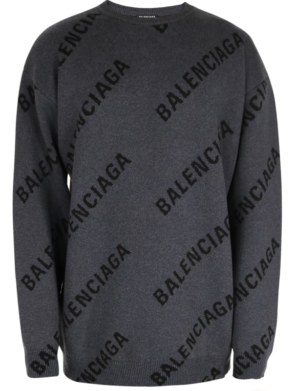Balenciaga Ribbed Logo Sweatshirt In Grey
