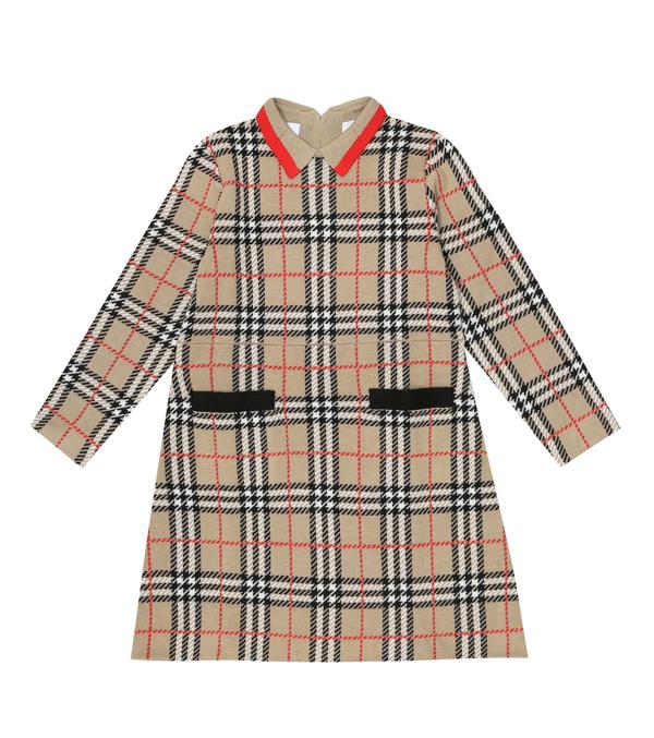 Burberry Kids' Little Girl's & Girl's Denise Vintage Check Merino Wool Dress In Beige