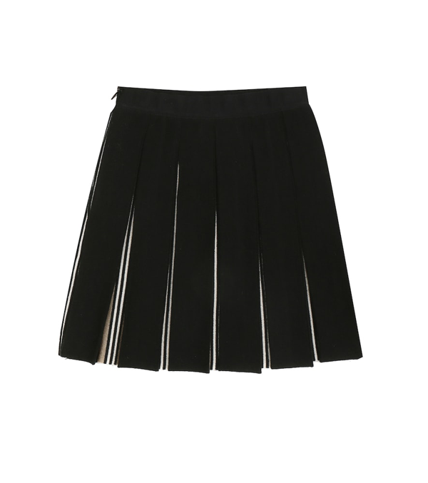 Burberry Kids' Icon Stripe Detail Pleated Skirt In Black