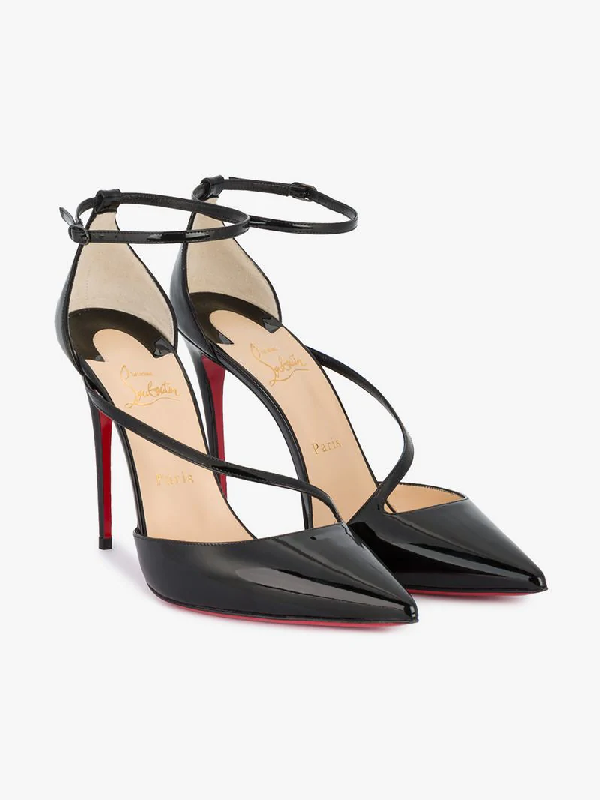 cbac3576fbc Fliketta Patent 100Mm Red Sole Ankle-Wrap Pump in Black