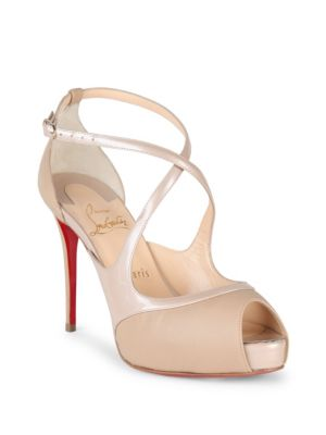 ddf30c2e79be Christian Louboutin Mirabelle 100 Patent Leather Crisscross Peep Toe Pumps  In Nude