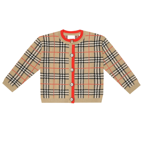 Burberry Kids' Edie Check Merino Wool Cardigan In Beige