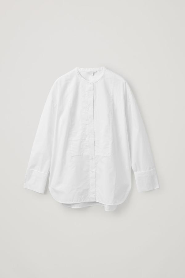 Cos Cotton Bib Insert Tunic-style Shirt In White