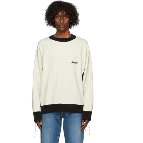 Ambush Logo Print Panelled Mix Sweatshirt In Navy/beige