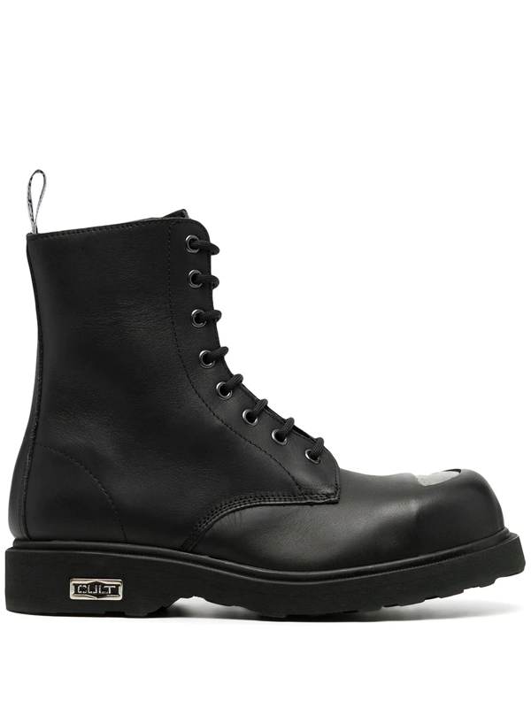 Cult Bolt Leather Combat Boots In Black