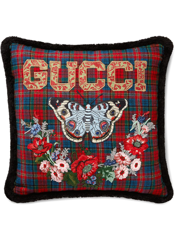 Gucci Embroidered Vintage Check Pillow In Black