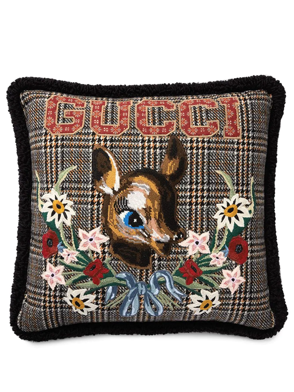 Gucci Bambi Embroidered Vintage Check Pillow In Black