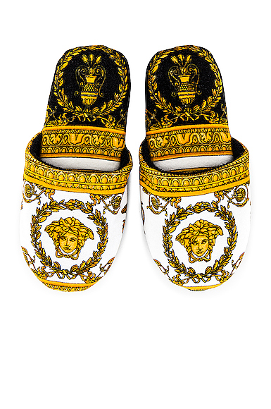 Versace I Heart Baroque Slippers In White & Gold & Black