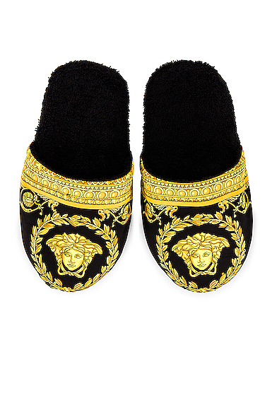 Versace Barocco Slippers In Black