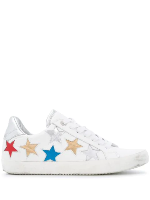 Zadig & Voltaire Women's Used Star Multicolor Star Patchwork Low Top Leather Sneakers In White