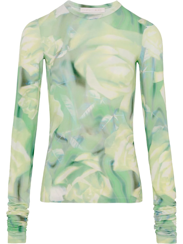 Fenty Long Sleeve Top With Green Rose Print