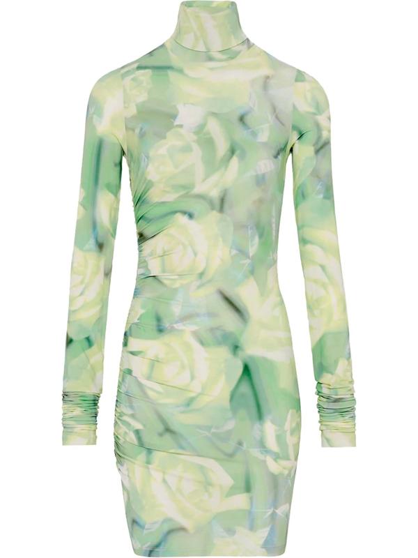 Fenty Body Con Dress Green Rose Print