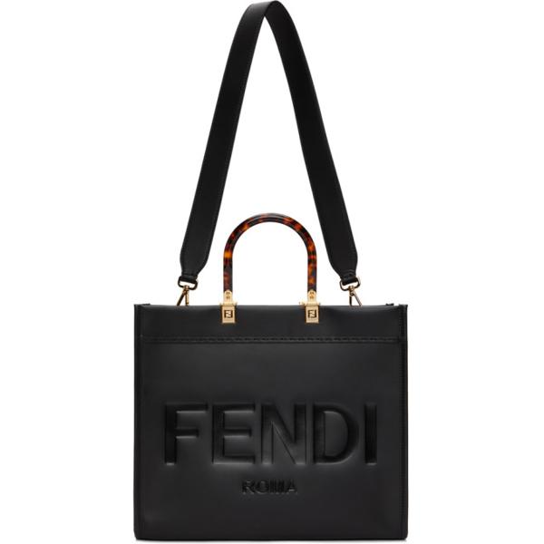 Fendi Sunshine Leather Shopping Bag In F0kur Black