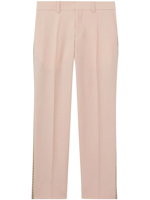 Burberry Check Side Stripe Dry Wool Twill Tailored Trousers In Pink