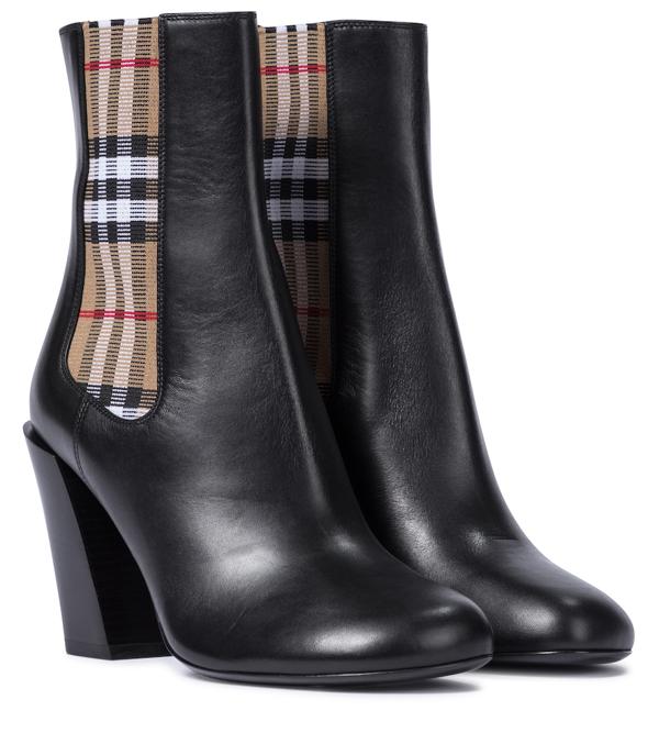 Burberry Black Alderman 90 Vintage Check Leather Boots