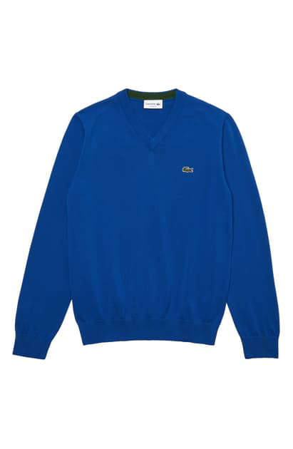 Lacoste Men's V-neck Wool Sweater In Electric