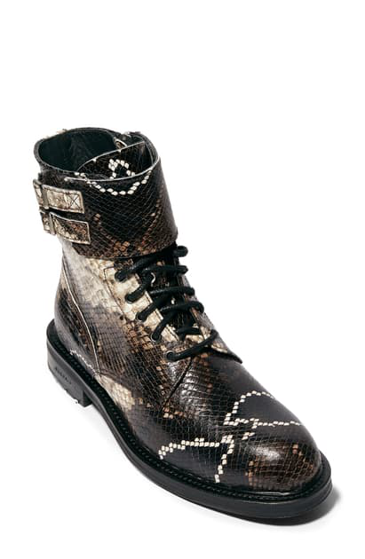 Allsaints Women's Brigade Embossed Leather Combat Boots In Multi Snake Print
