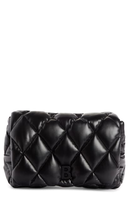Balenciaga Large Touch Diamond Quilted Leather Clutch In Black