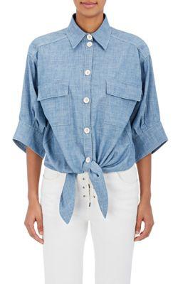 ChloÉ Tied-Hem Cotton Chambray Shirt In Blue