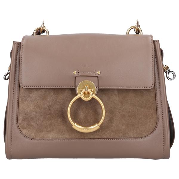Chloé Women Handbag Tess Calfskin Suede Logo Green