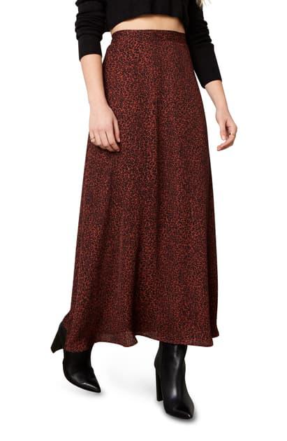 Cupcakes And Cashmere Marlena Leopard Print Midi Skirt In Autumn Mauve