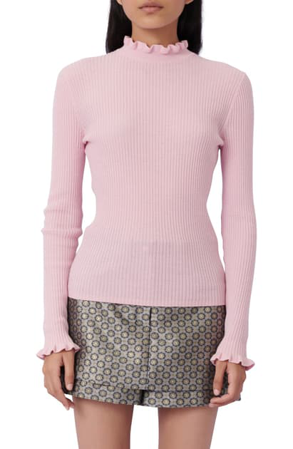 Maje Maullya Ruffled Ribbed Sweater In Pink