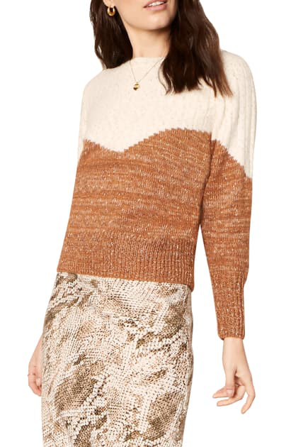 Cupcakes And Cashmere Faith Bicolor Sweater In Oatmeal