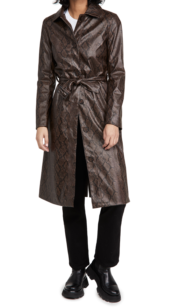 Cupcakes And Cashmere Julian Snake Embossed Faux Leather Trench Coat In Espresso