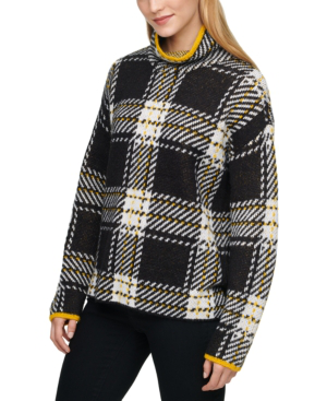 Dkny Plaid Turtleneck Sweater In Black/ivory/halo Yellow