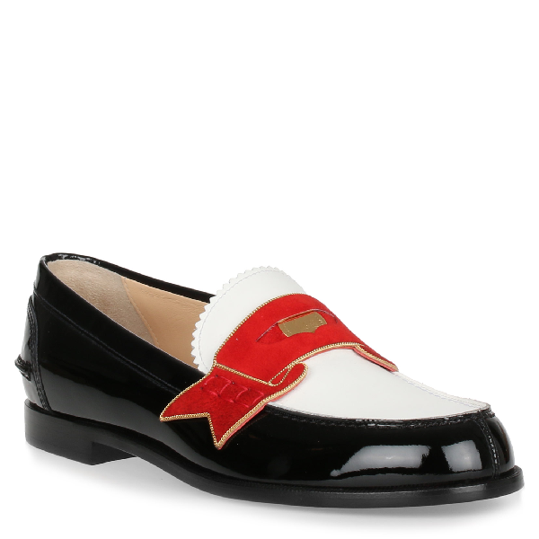 cfe92ff246cf Christian Louboutin Moana Suede And Chain-Trimmed Leather Loafers In Black