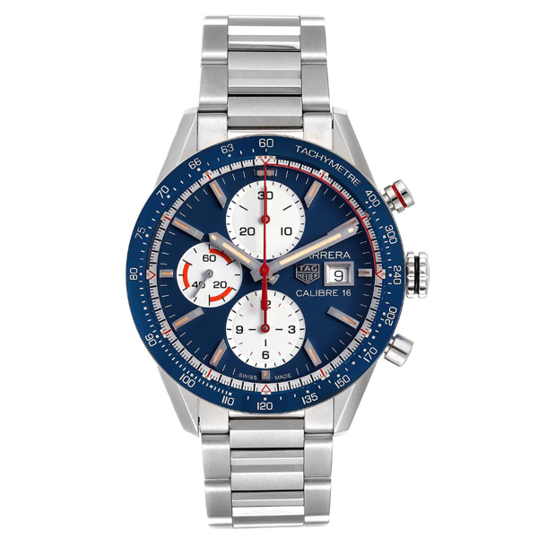 Pre-owned Tag Heuer Blue Stainless Steel Carrera Calibre 16 Chronograph Cv201ar Men's Wristwatch 41 Mm