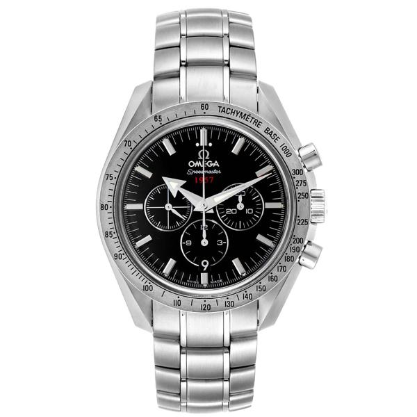 Pre-owned Omega Black Stainless Steel Speedmaster Broad Arrow 1957 321.10.42.50.01.001 Men's Wristwatch 42 Mm