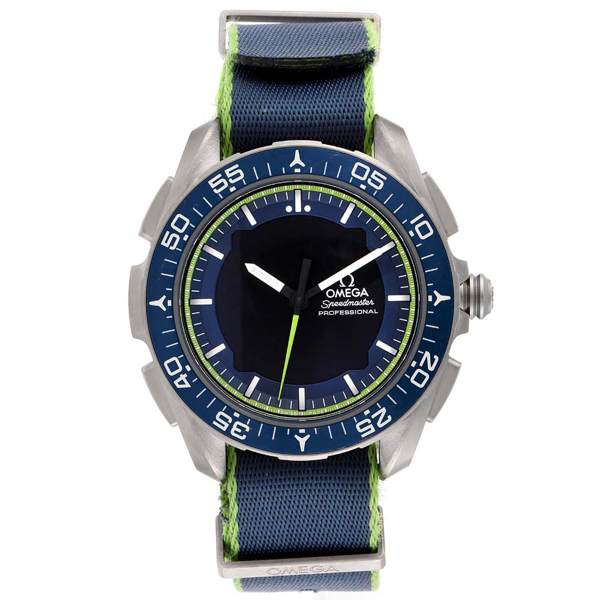 Pre-owned Omega Blue Titanium Speedmaster Skywalker X-33 Solar Impulse 318.92.45.79.03.001 Men's Wristwatch 45 Mm