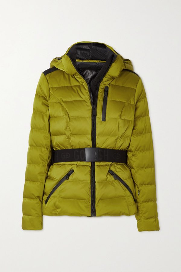 Goldbergh Soldis Belted Quilted Down Ski Jacket In Green