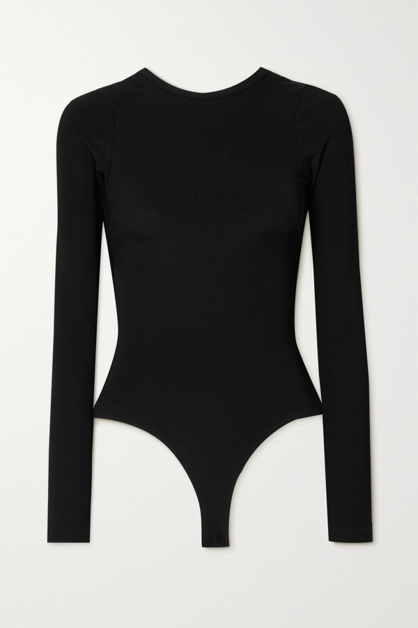 Goldsign Cutout Ribbed Stretch-knit Thong Bodysuit In Black