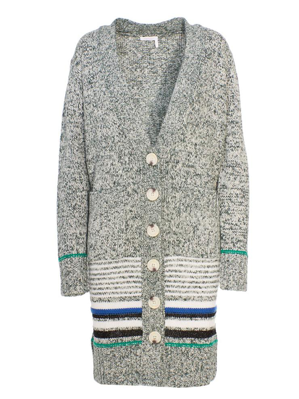 See By Chloé Grey Cardigan In Green