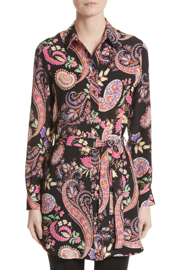 Etro Floral Paisley Print Silk Tunic In Black