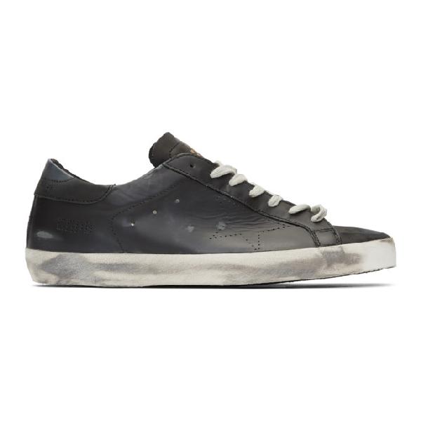 Golden Goose Men's Superstar Distressed Leather Low-Top Sneakers In Black Skate