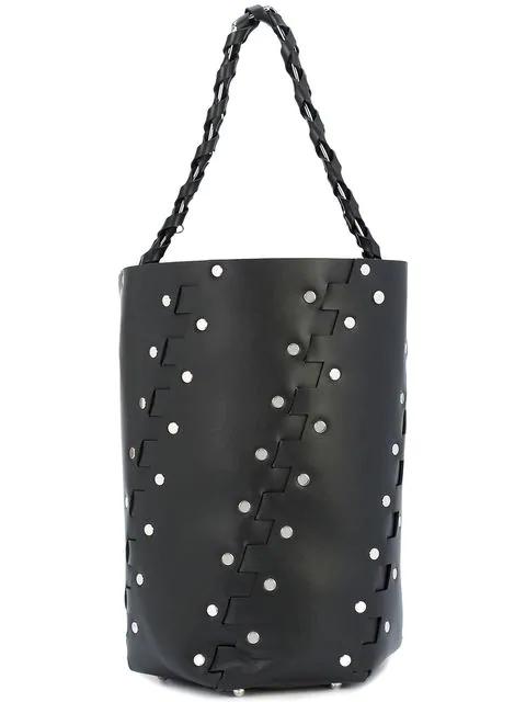 Proenza Schouler Medium Hex Studded Leather Bucket Bag - Black