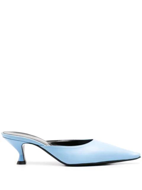 Kwaidan Editions Blue Pointy Toe Kitten Heel Mules