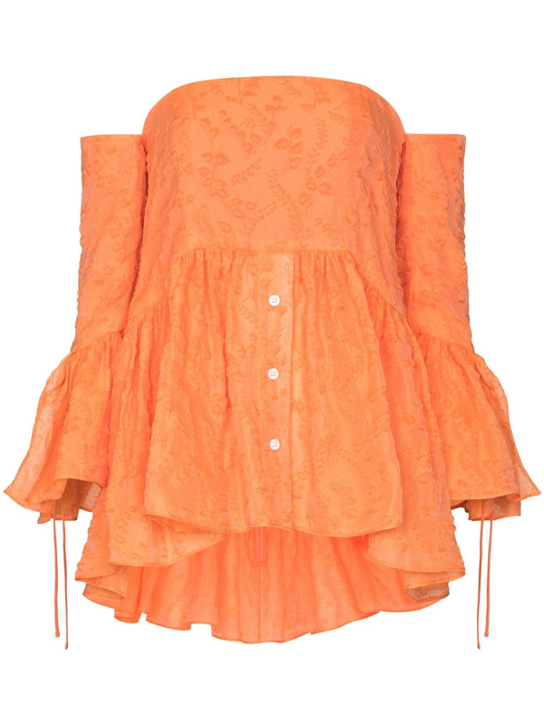 Rosie Assoulin Orange Off-the-shoulder Ruffled Blouse