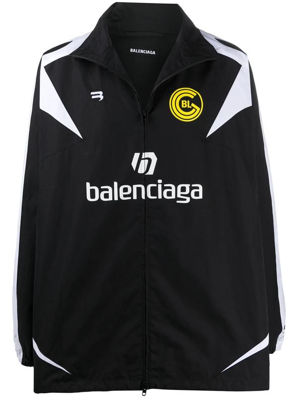 Balenciaga Soccer Logo Cotton Poplin Jacket In Black