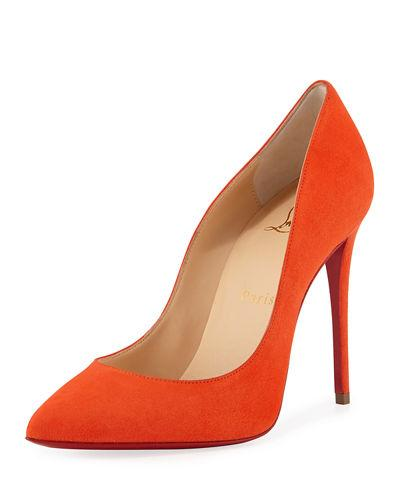 43e4086bc4d Pigalle Follies Suede Point-Toe Red Sole Pump in Orange