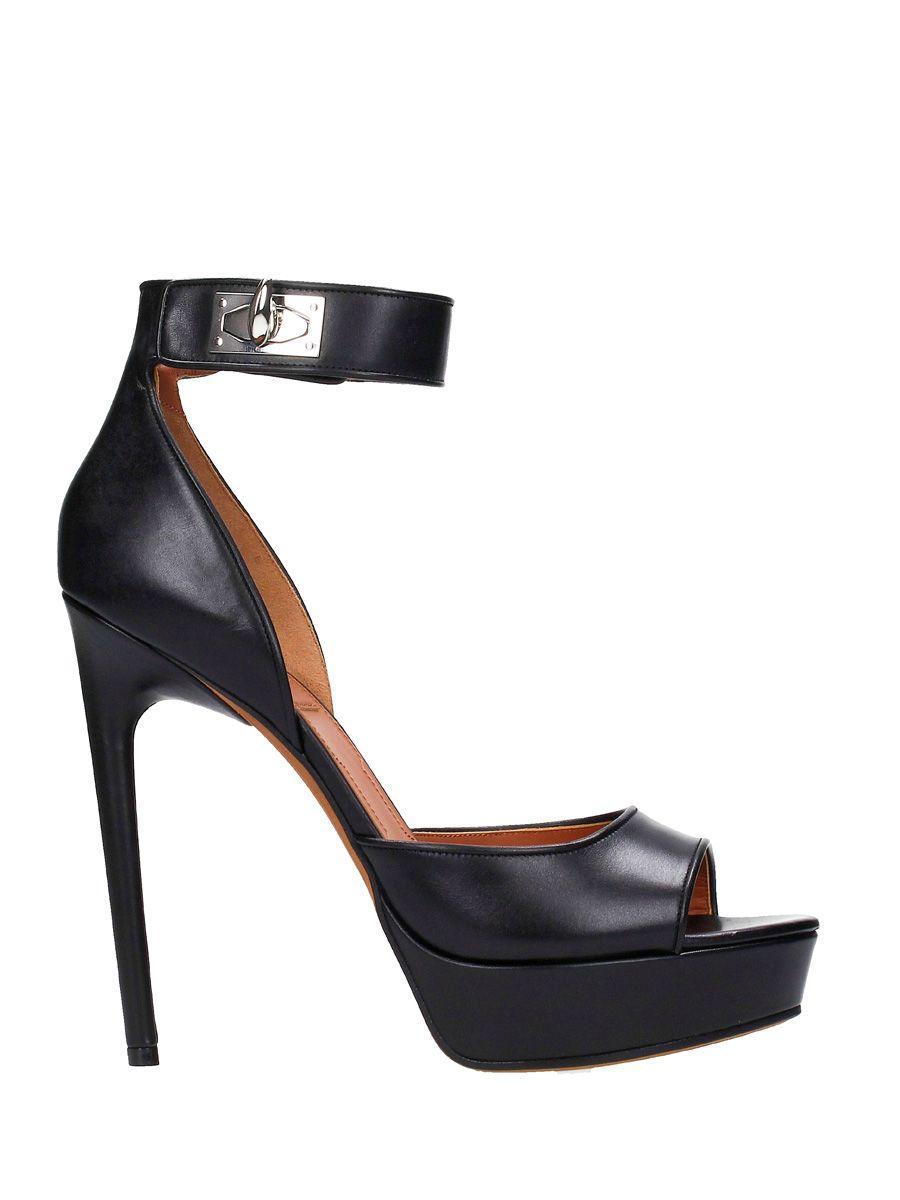 Givenchy Shark-Lock Platform Sandals In Black