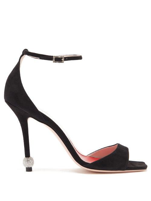 Roger Vivier Women's I Love Vivier Embellished-heel Suede Sandals In Black