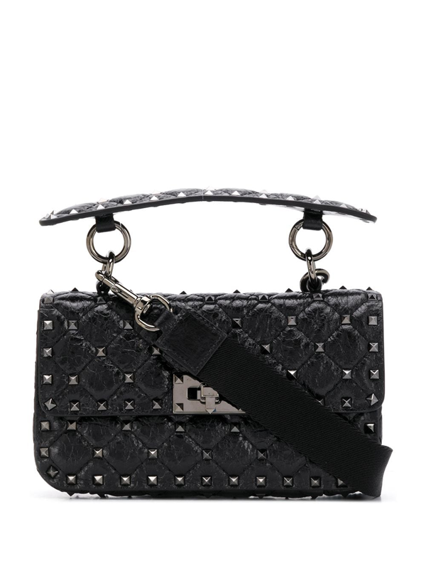 Valentino Garavani Small Rockstuds Shoulder Bag In Black