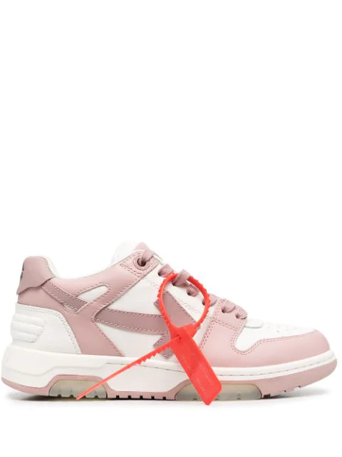 Off-white Out Of Office Two-tone Leather Sneakers In White/ Nude