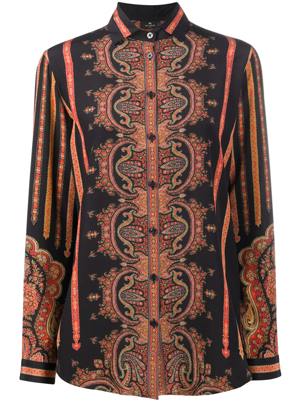 Etro Paisley Patterned Shirt In Black